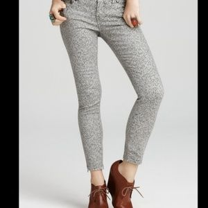 Free People Gray Patterned Ankle Zip Skinny Jeans